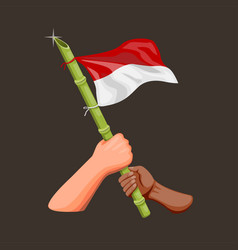 Hand holding indonesian with sharpened bamboo vector