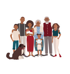 Happy large black family portrait vector