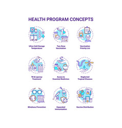 Health program concept icons set vector