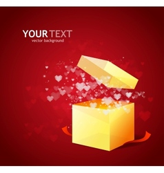 Heart and gift box Valentines day card vector