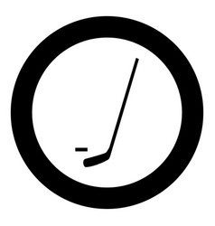 hockey sticks and puck icon black color in circle vector image