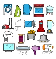 Home and kitchen appliances icons vector