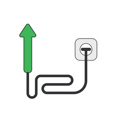 Icon concept arrow moving up with cable and vector