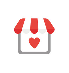 Icon concept of shop store with heart vector
