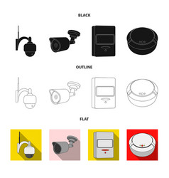 Isolated object of cctv and camera icon set of vector