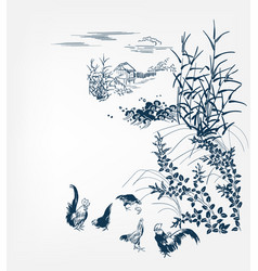 japanese chinese design sketch ink paint style vector image
