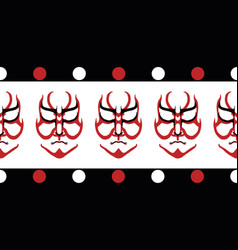 Japanese drama kabuki face border banner vector