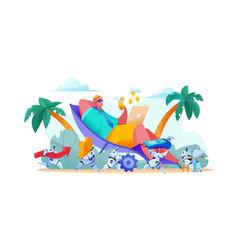 joyful businessman lies on beach with laptop team vector image