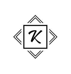 k monogram logo white geometric modern vector image