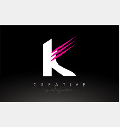 K white and pink swoosh letter logo letter design vector