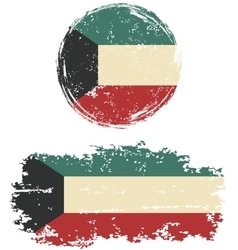 Kuwait round and square grunge flags vector
