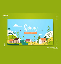 landscape with buildings hills flowers leaves vector image