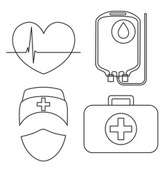 line art black and white blood donation icon set vector image