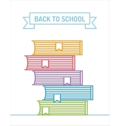 Linear books stack Education university college vector image