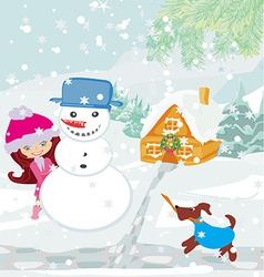 little girl building snowman vector image