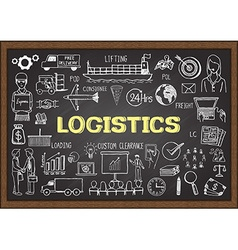Logistics on chalkboard vector image