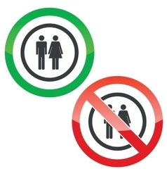 Man and woman permission signs vector