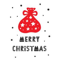 merry christmas scandinavian greeting card vector image