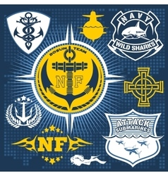 Military and naval forces badges design elements vector