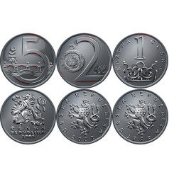 Money five czech crones coin reverse vector