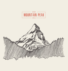Mountain peak engraving style hand drawn vector