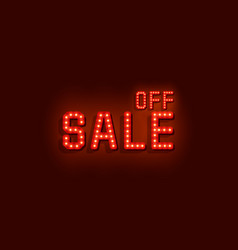 neon signboard text sale off on red background vector image
