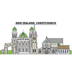 New zealand christchurch city skyline vector