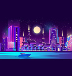 Night city background with muslim mosque vector