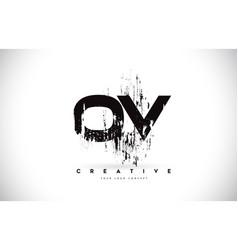 ov o v grunge brush letter logo design in black vector image