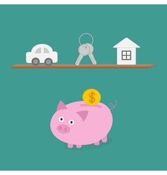 Piggy bank an shelf with car key house Flat design vector image
