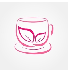 pink cup of tea vector image