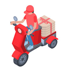 Pizza motorbike delivery icon isometric style vector