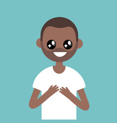 Portrait of young black character with big anime vector
