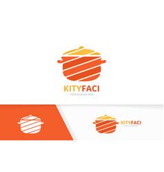 pot logo combination kitchen symbol or vector image