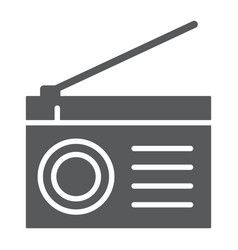 Radio glyph icon fm and sound communication sign vector