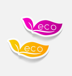Realistic design element eco sign leaf vector