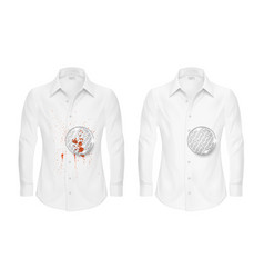 realistic shirts before and after washing vector image