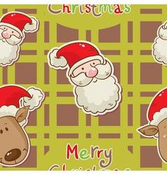 santa deer seamless redgreen vector image