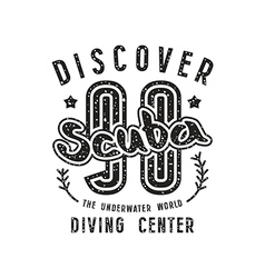 Scuba diving emblem in retro style vector image