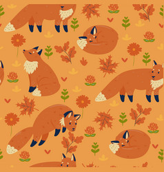 seamless pattern with autumn foxes vector image