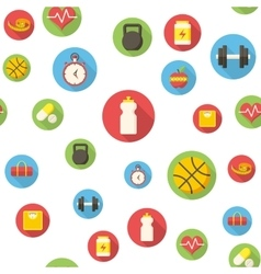 Seamless pattern with fitness icons vector image