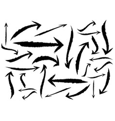 set different grunge brush arrows pointers vector image