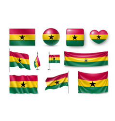 set ghana flags banners banners symbols vector image vector image