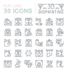 set line icons 3d bioprinting vector image