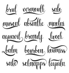 Set names species alcohol in calligraphy vector
