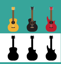Set of guitar in flat and silhouette style vector