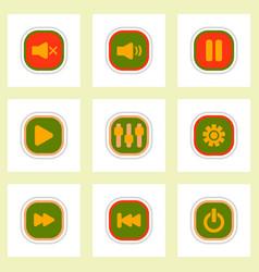 Set ofcolor label design icon design buttons music vector
