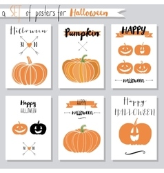 set with pumpkins for Halloween vector image