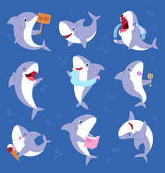 shark cartoon seafish smiling with sharp vector image
