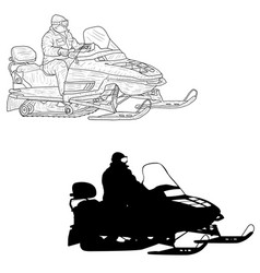 Snowmobile with driver silhouette sketch on white vector